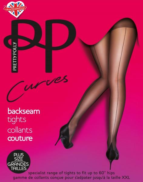 Plus size panty met zwarte naad en piramidevormige hiel Curves Backseam van Pretty Polly