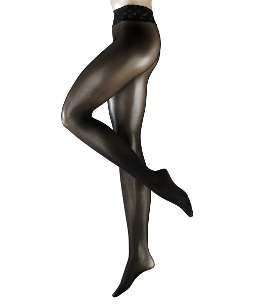 Comfortabele naadloze panty met kanten boord Sensation van Falke