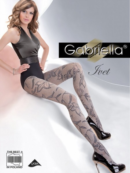 Elegante netpanty met bloemenpatroon Ivet van Gabriella
