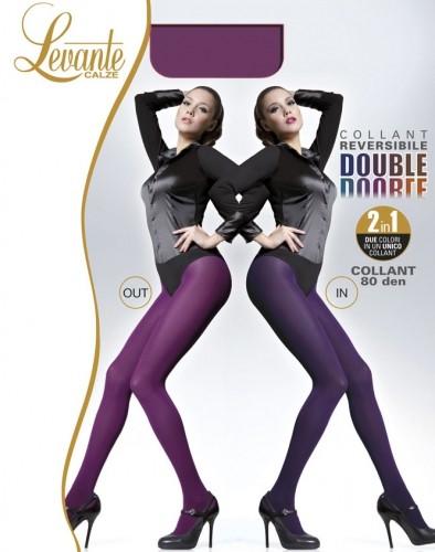 Gladde ondoorzichtige pantys in twee kleuren Double van Levante, 80 DEN