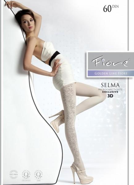 Elegante ondoorzichtige pantys met bloemenpatroon Selma van Fiore, 60 DEN