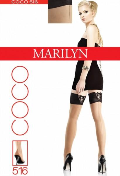 Stay ups met achternaad en met verleidelijk sierband Coco van Marilyn