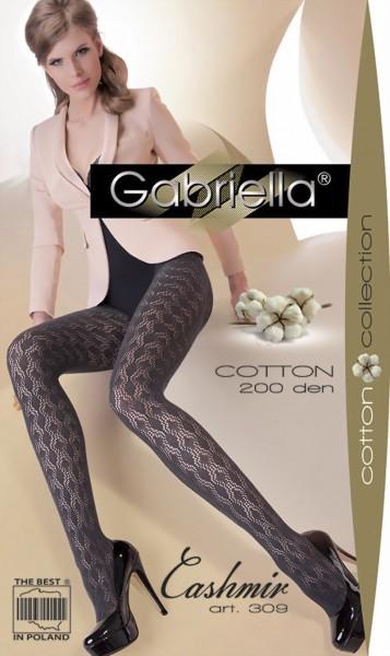 Ondoorzichtige katoenen pantys met patroon Cashmir 309 van Gabriella