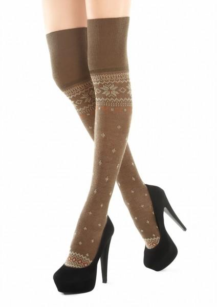 Katoenen over de knie sokken met Noors patroon Zazu van Marilyn
