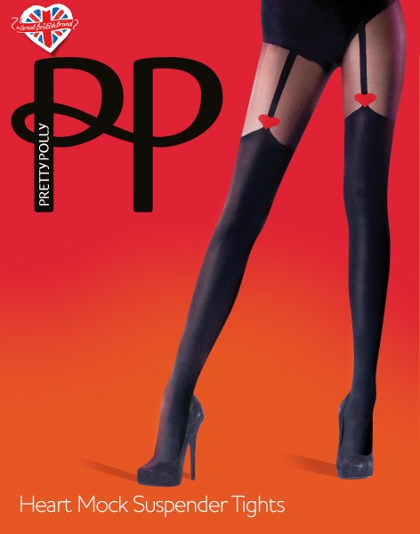 Trendy panty met jarretel-look en hartjespatroon van Pretty Polly