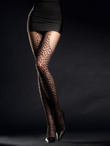 Panty met luipaardmotief en jarretel-look Hunt Me van Fiore