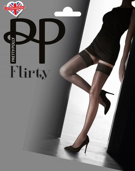 Fijne, glanzende zelfophoudende kousen met brede kanten boord van Pretty Polly