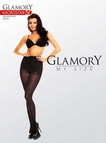 Semi-opaque grote maten panty van microvezel Microstar 50 van Glamory