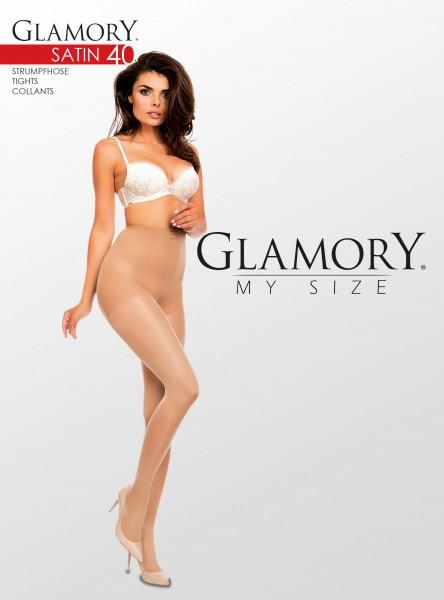 Semi-opaque glanzende grote maten panty Satin 40 van Glamory
