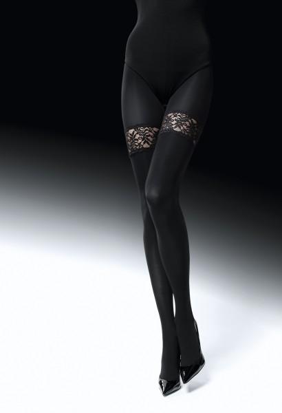 Panty met kousen effect en kanten details Risky Game van Knittex
