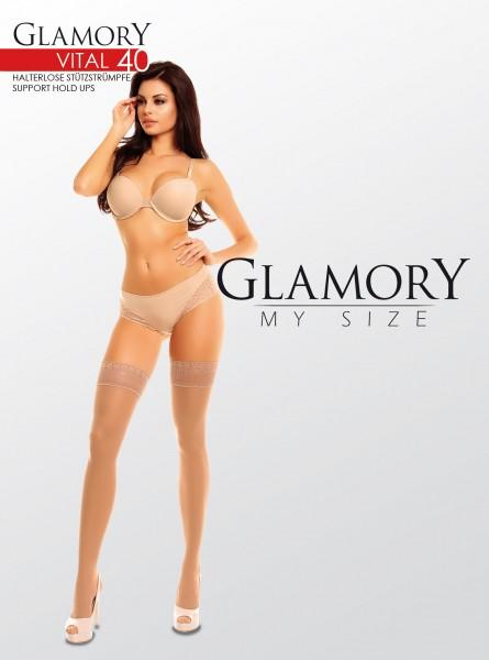 Grote maten, licht steungevende zelfophoudende kousen Vital 40 van Glamory