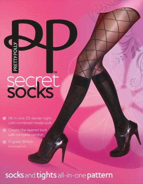 2 in 1 - panty met ruitjespatroon en met kniekousen Secret Socks van Pretty Polly